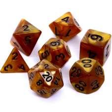 Komplet kości REBEL RPG - Perłowe - Ciemnożółte...