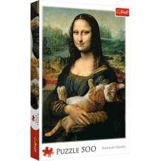 Puzzle 500 - Mona Lisa i kot Mruczek