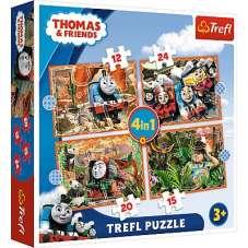 Puzzle 4w1 - Podróże po świecie pociąg Tomek