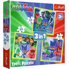 Puzzle 3w1 - Gotowi do działania Pidżamersi