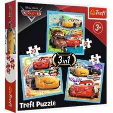 Puzzle 3w1 - Przygotowania do wyścigu Auta