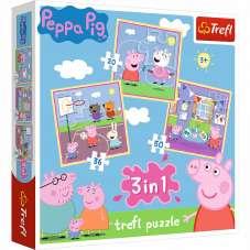 Puzzle 3w1 - Zabawy w szkole Świnka Peppa