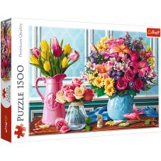 Puzzle 1500 - Kwiaty w wazonach