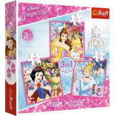 Puzzle 3w1 - Zaczarowany świat Księżniczek
