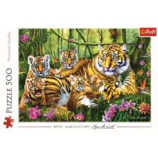 Puzzle 500 - Rodzina tygrysów