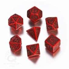 Komplet Kości celtycki - Czerwono-czarny 3D